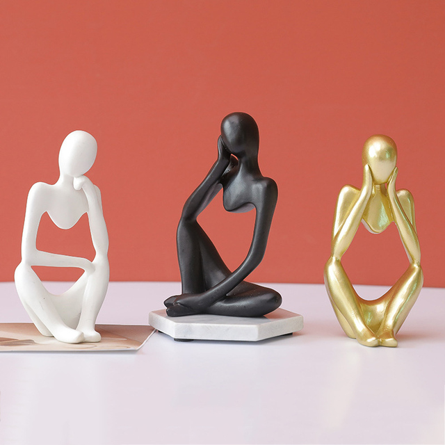Abstract Thinker Statue Resin Sculpture Miniature Figurines Thinker Character European Style Office Home Decoration Accessories 4