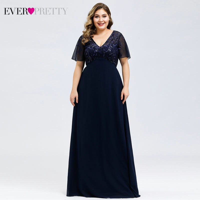 Plus Size Sequined Evening Dresses Long Ever Pretty A-Line V-Neck Short Sleeve Elegant Party Gowns Abiye Gece Elbisesi 2019