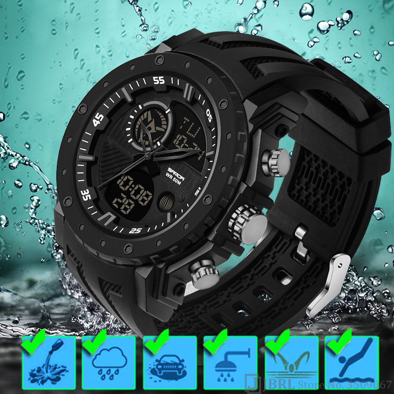 Brand Waterproof Watch Men Watches Military Army Male Watch For Men Clock Sport Outdoor Wristwatch Top New Dual Display Hours