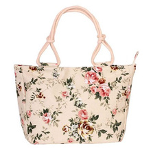 Fashion Folding Womens Handbag Large Capacity Leisure Canvas Shopping Bag Stripe Flower Single Shoulder
