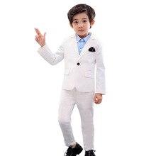 Dress Wedding-Suit Costume Tuxedo Flower Prom-Party Children's-Day Baptism White Boys
