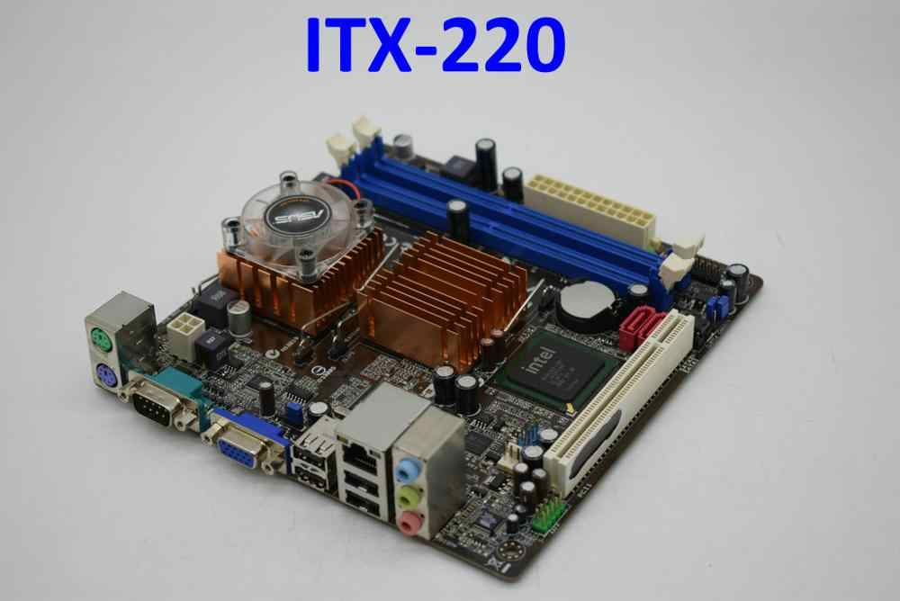 Para ASUS ITX-220 DDR2 17*17cm mini placa base para coche integrado CPU