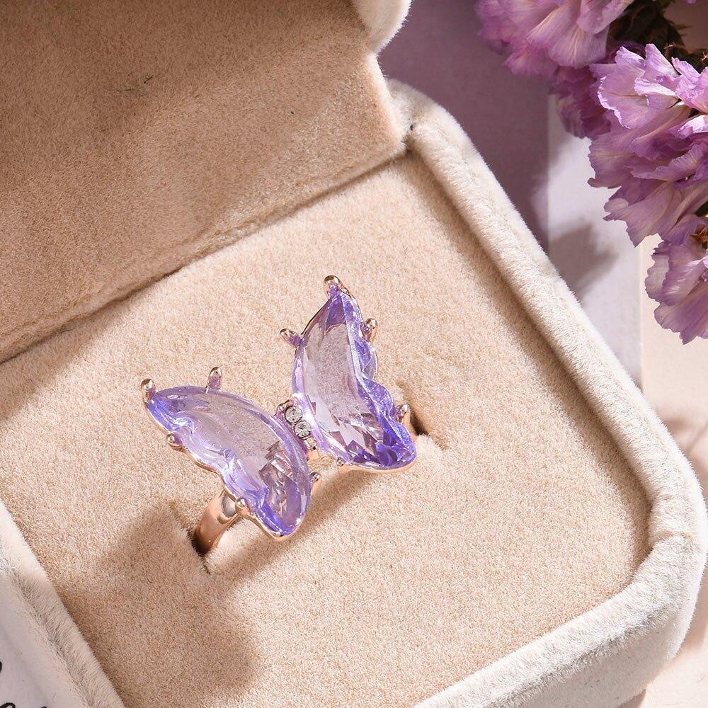 Новинка кольцо с бабочкой фиолетовая модная популярная темпераментная милая романтическая Женская бижутерия для девушек свадебный подарок Кольца    АлиЭкспресс - Топ аксессуаров с Али
