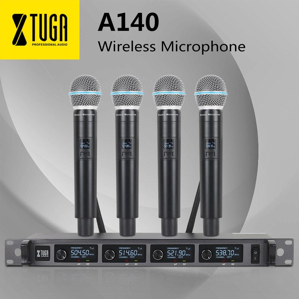 Xtuga 4 canais uhf sem fio sistema de microfone 4handheld profissional freqüência fixa sem fio mic até 300ft para karaoke, festa
