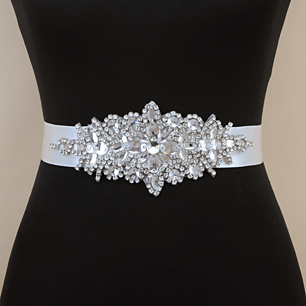 TOPQUEEN Luxury Silver  Rhinestone Wedding Belt Girdles For Dresses Dress Accessories Bridesmaid Wedding Dress  Sequin Belt S01