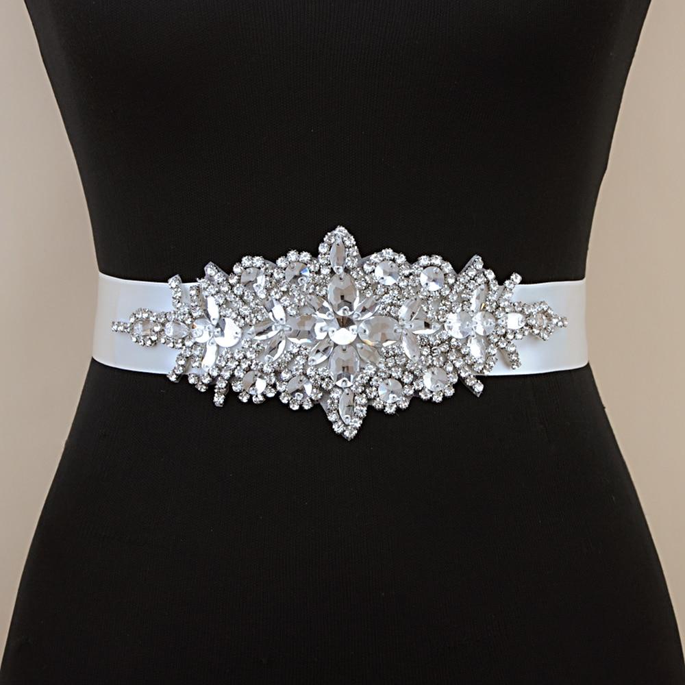 TOPQUEEN Luxury Silver  Rhinestone Wedding Belt Girdles For Dresses Dress Accessories Bridesmaid Wedding Dress  Sequin Belt S01