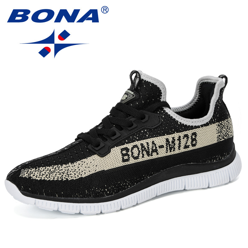 BONA 2019 New Designer Running Shoes Men Outdoor Sports Shoes Man Walking Athletic Shoes Male Trainers Hombre Jogging Footwear