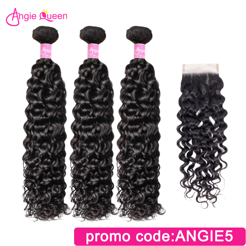 Angie Queen Water Wave Indian Remy Hair Natural Color 100% Human Hair Bundles With Lace Closure 3 Hair Bundles With Closure M