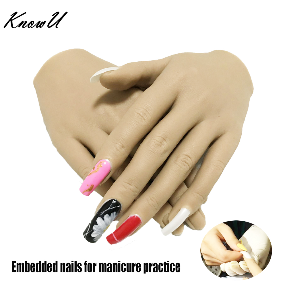 KnowU Manicure Tools Flexible Silicone Hand Practice Jointed Fake Finger Nails Acrylic Display Model Ajustable Training Holder