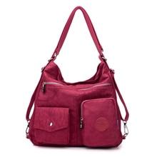 3 in 1 Donne Borse Multifunzione Zaino di Nylon del Sacchetto di Spalla Tote Bag di Stoffa Riutilizzabile Shopping Bag Ladys Borsa Da Viaggio Crossbody Bag