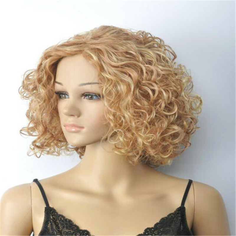 Hot Sell New Fashion Blonde Mix Short Curly Women Lady Girl Hair Wig