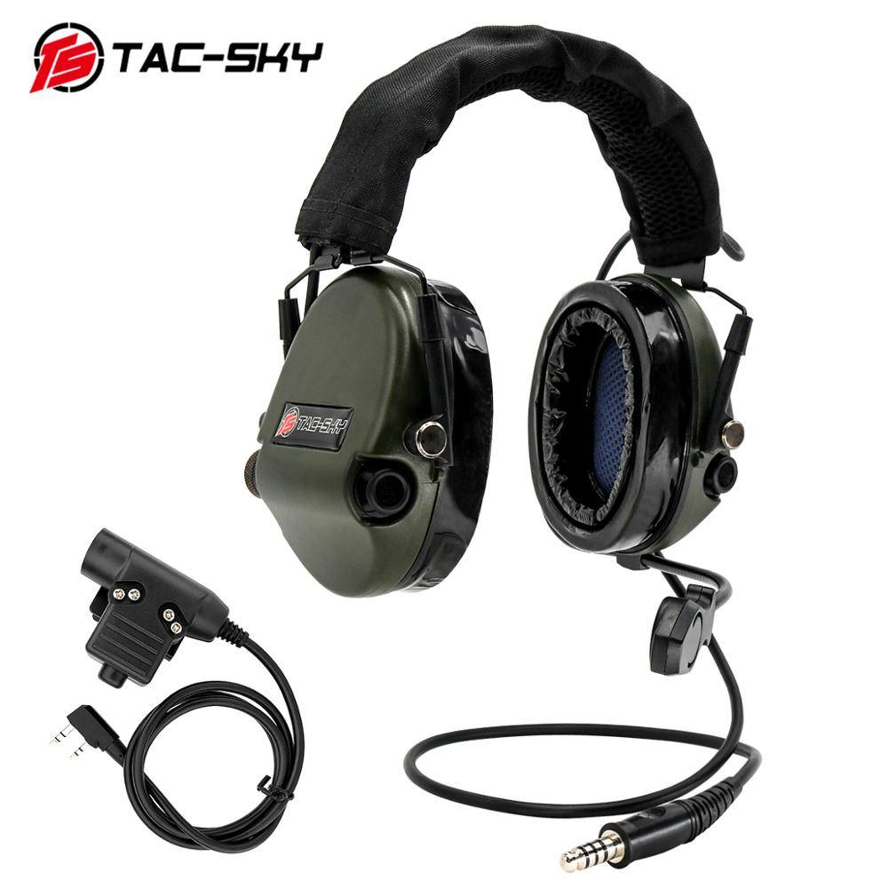 TAC-SKY TEA Hi-Threat Tier 1 Silicone Earmuff Hunting Sports Noise Reduction Tactical Headphones + KENWOOD U94 PTT