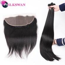 Шелковистые прямые человеческие волосы, пряди с фронтальной 13x4 коричневого цвета, бразильские волосы Remy для наращивания