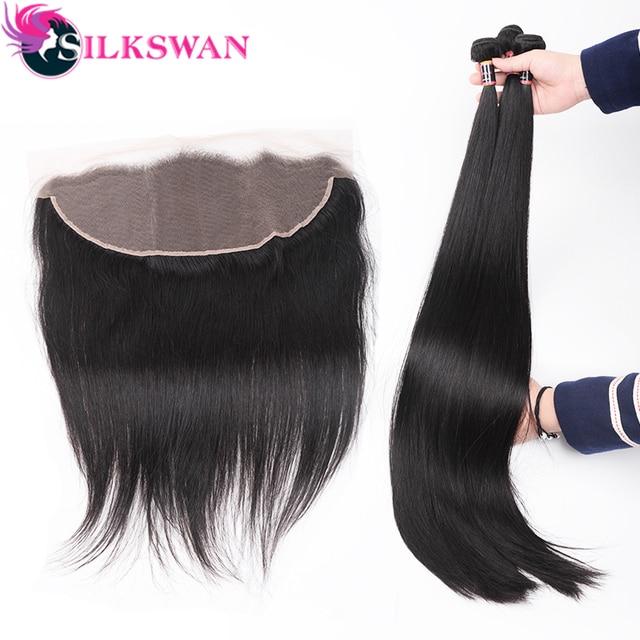 Silkswan extensiones de cabello humano liso con Frontal, 13x4, encaje marrón, Frontal, brasileño, Remy