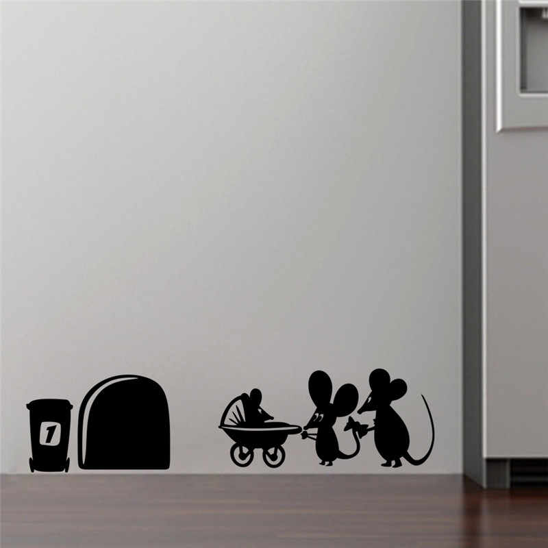 Litte Mouse hole love funny wall sticker wall poster for kids room bedroom corner wall decor house decoration Christmas