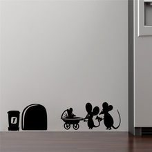 Pegatina de pared divertida de Litte Mouse hole amor póster de pared para niños habitación esquina pared decoración casa decoración Navidad(China)