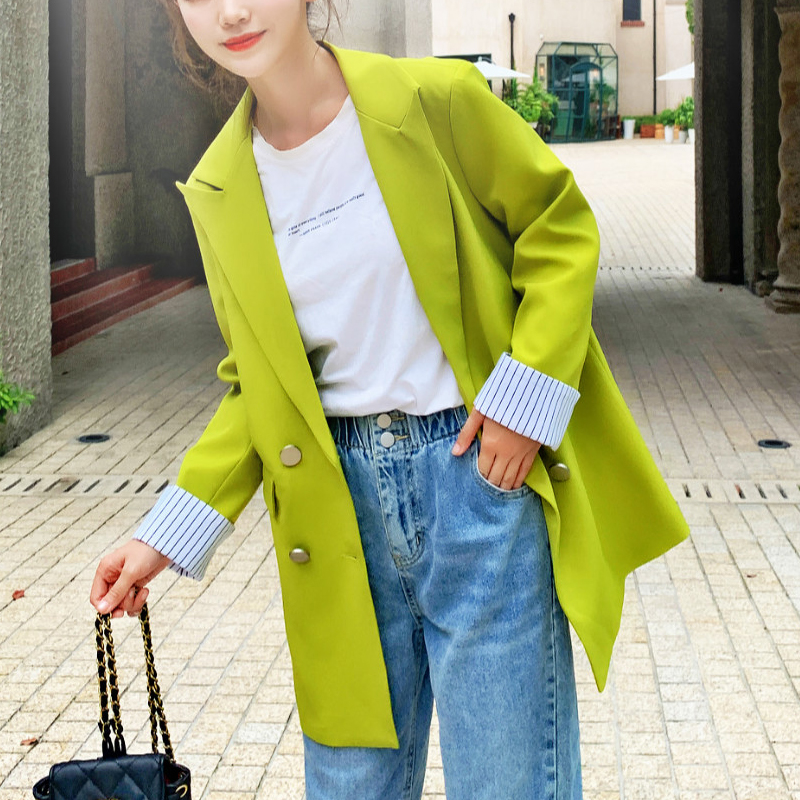 Autumn Women Chic Pink Green Blazer Pockets Double Breasted Long Sleeve Office Wear Coat Back Drawstring Female Casual Outerwea