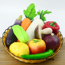 цена на Artificial Vegetables model carrot onion mushroom Chili Potato Eggplant Garlic cucumber tomatoes Simulation model props