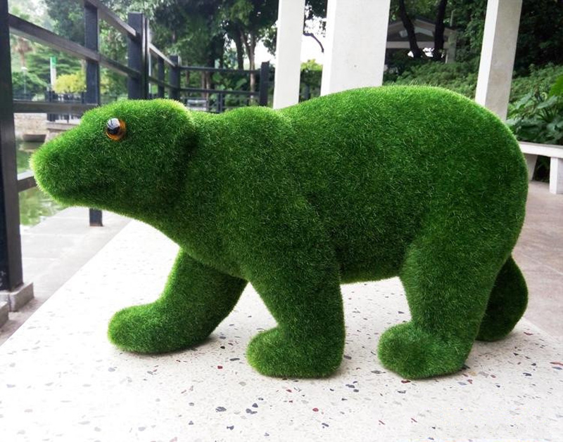 39cm Large Flower Bear Artificial Moss Flocking Animals Green Grass Fake Animal Crafts Christmas Moose For Home Party Decoration