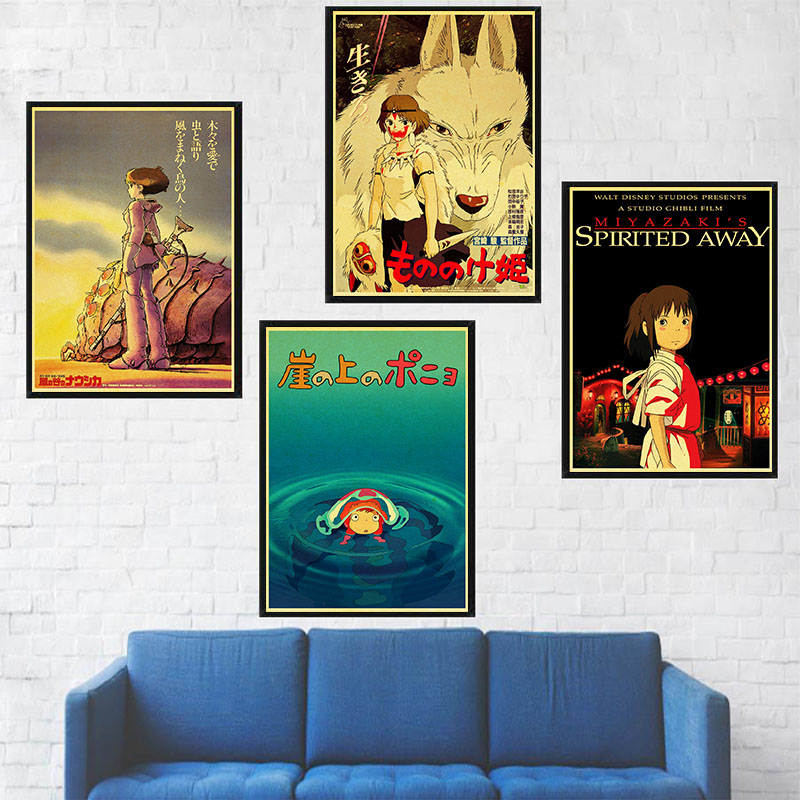 Hayao Miyazaki Anime Movie Retro Poster Set Kraft Paper Art Wall Decorative Bar Stickers Home Coffee Kitchen Living Room Decor image