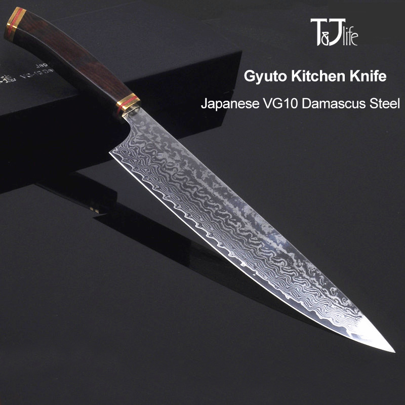 8inch kitchen knife damascus vg10 japanese chef Sharp Handmade Forged Chef Knife Cleaver Knives Ebony handle free ship 46