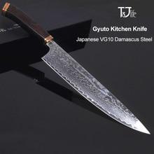 цена на 8inch kitchen knife damascus vg10 japanese chef knife Sharp Handmade Forged Chef Knife Cleaver Knives Ebony handle free ship 46