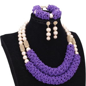 Image 2 - Purple Fine Jewelry Sets For Women Gold Color Balls African Set Jewelry Nigerian Wedding Beads Sets Free Shipping 2018 Fashion