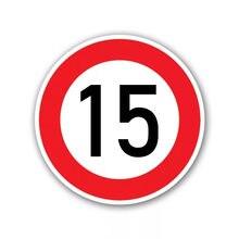 Autocollant Auto-adhésif pour limite de vitesse (15 km), Ø 16 cm, autocollant de voiture, décorations automobiles imperméables, # A-0071