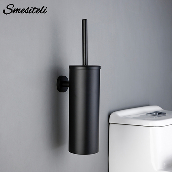 Bathroom Black Toilet Brush Holder Set With Trump Bar 304 Stainless Steel Wall Mounted Toilet Brushes For Cleaning Storage