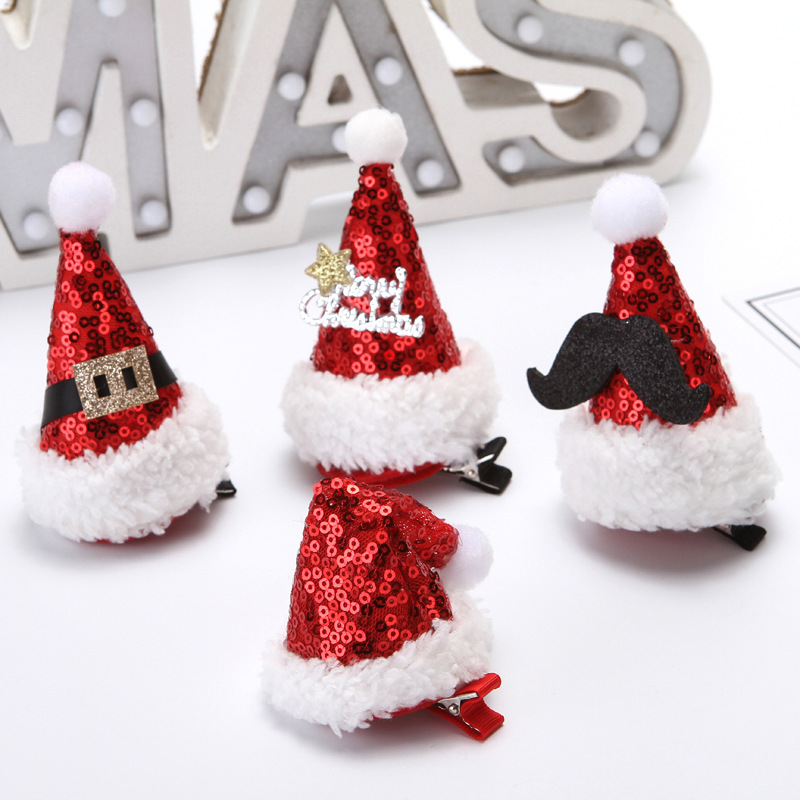 Random Color Santa Claus Christmas Headband Hat Non Slip Hair Clip Hairpin For Kids Girls Women Beauty Party Festive Decoration