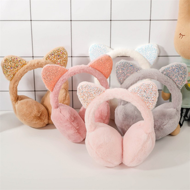 Girl Winter Sequins Cat Ears Plush Earmuffs Fur Warm Women Ear Protect Cute Faux Soft Fluffy Earcap Students Earmuffs Ear Warmer
