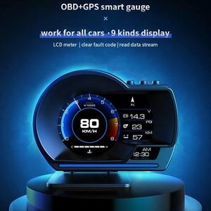 Image 2 - Nieuwste OBD2 + Gps Smart Auto Hud Head Up Display Auto Display Gauge Digitale Kilometerteller Security Alarm Water & Olie temp Rpm