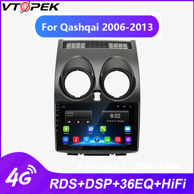 Vtopek Android Car Multimedia Video Player Radio For Nissan Qashqai 2006-2013 GPS Navigation 9 Inch 4G Network Wifi Function