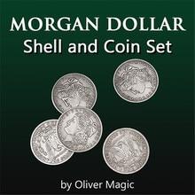 Morgan Dollar Shell and Coin Set (5 Coins + 1 Head Shell ) Magic Tricks Close Up Illusions Gimmick Prop Coin Magia