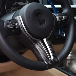 Image 3 - Dopasowana osłona kierownicy dla BMW F10 F30 F20 F48 F25 F32 samochodów z włókna węglowego M obudowa przycisków na kierownicy powłoki zastąpić biegów wiosła