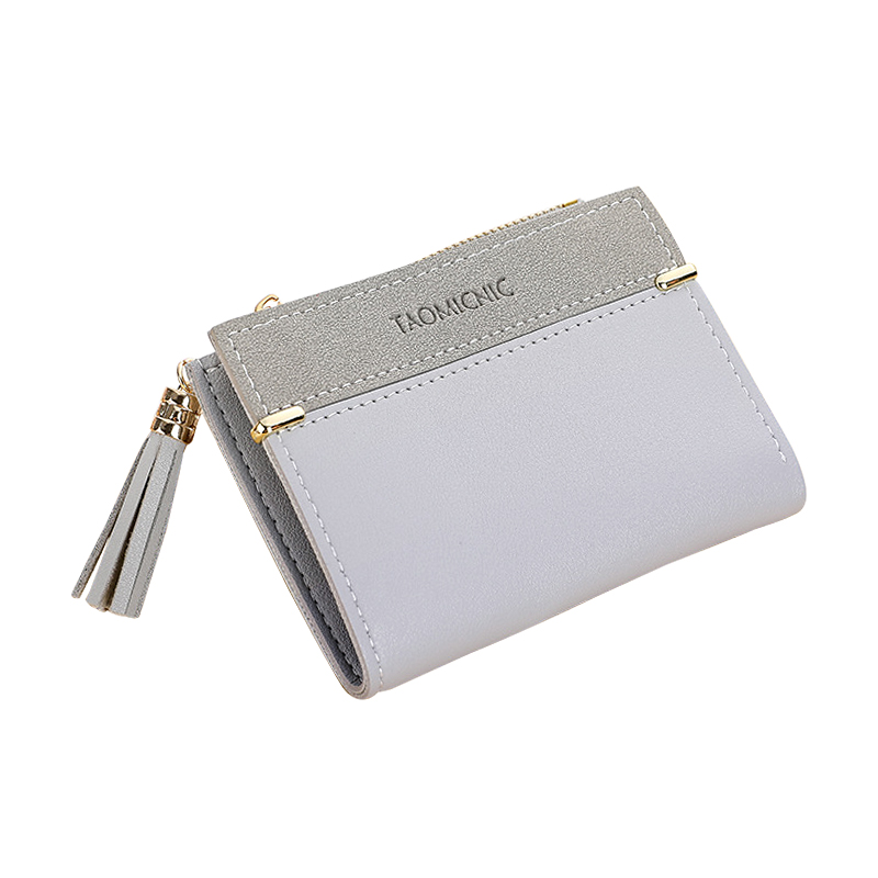 Tassel Women Wallet Fashion Wild Coin Purse Matte Leather Solid Color Short Zipper Clutch Bag Multi-card Position Card Holder