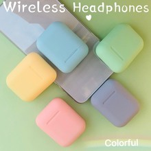 i12 tws Bluetooth Earphone Frosted Wireless Earbuds auto connect Portable Earpie