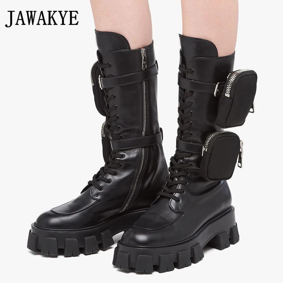 JAWAKYE Nieuwe Dikke bodem mid calf korte laarzen Vrouwen lace up Rits met pocket Lange Laarzen Zwart Winter motorlaarzen vrouw