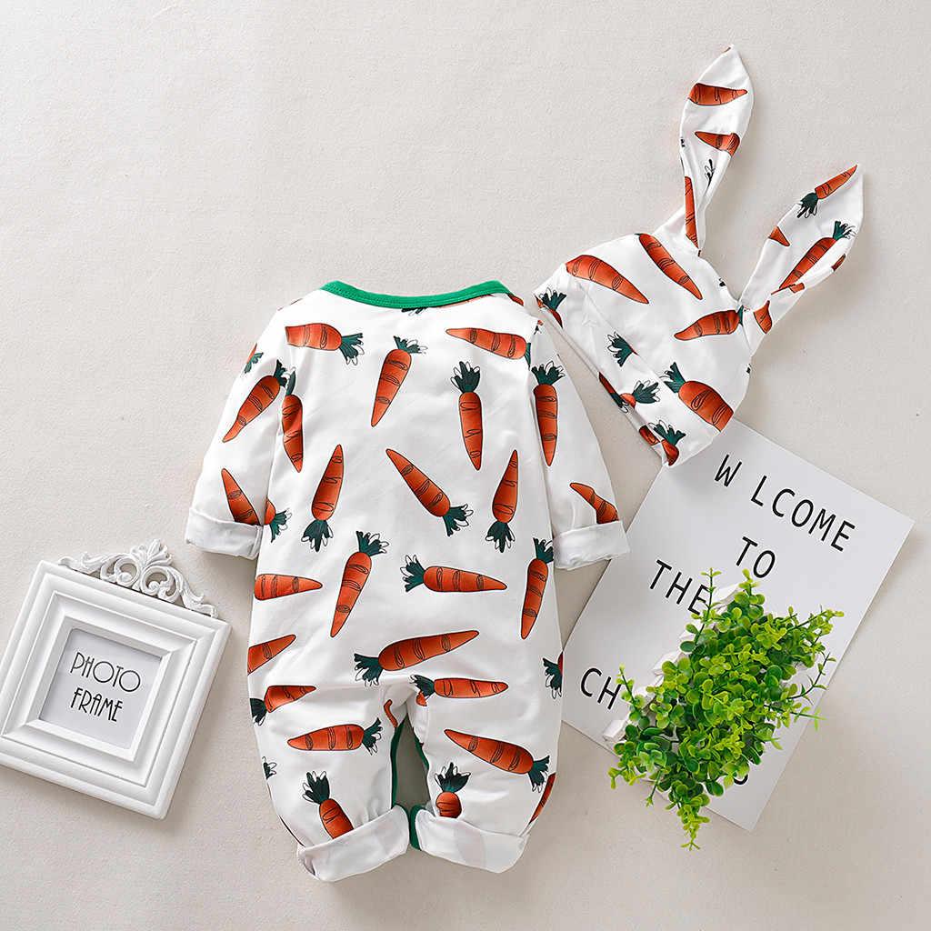 Infant Baby Boys/&Girls Cartoon Carrot Print Romper Jumpsuit+Rrabbit Ears Hat Set
