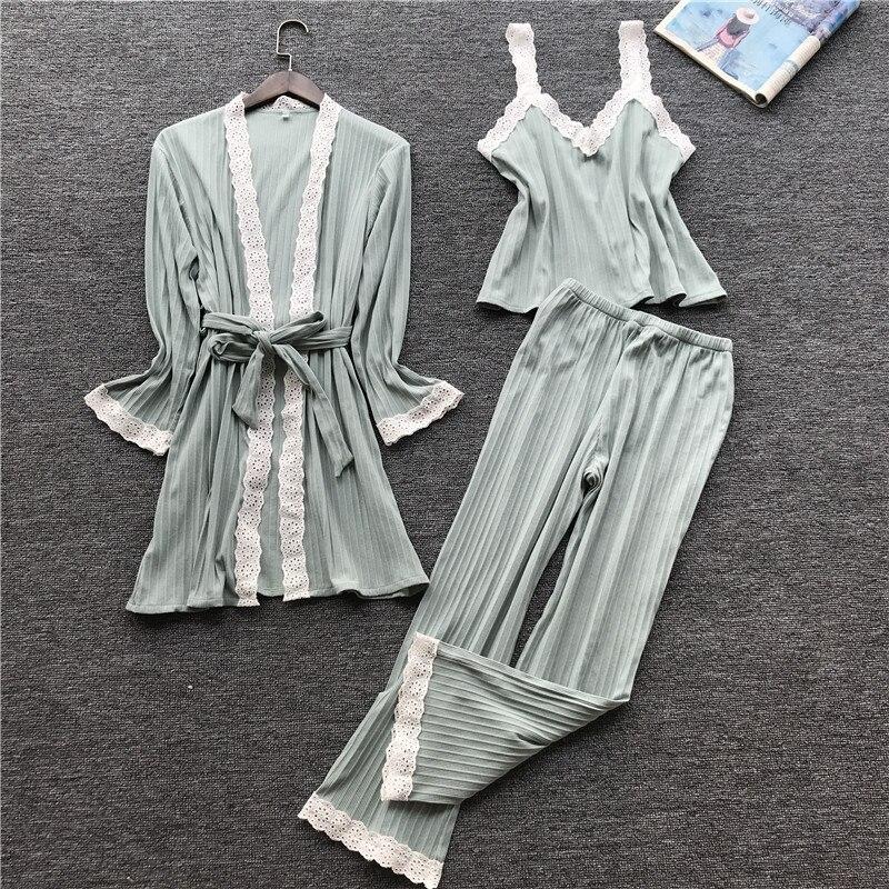 JULY'S SONG  Women Cotton Pajamas Set  3 Pieces Autumn Winter  Sexy Lace Pajamas Woman Sleepwear Pajamas  Soft  Casual Homewear