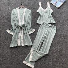 JULY'S SONG Women Cotton Pajamas Set 3 Pieces Autumn Winter