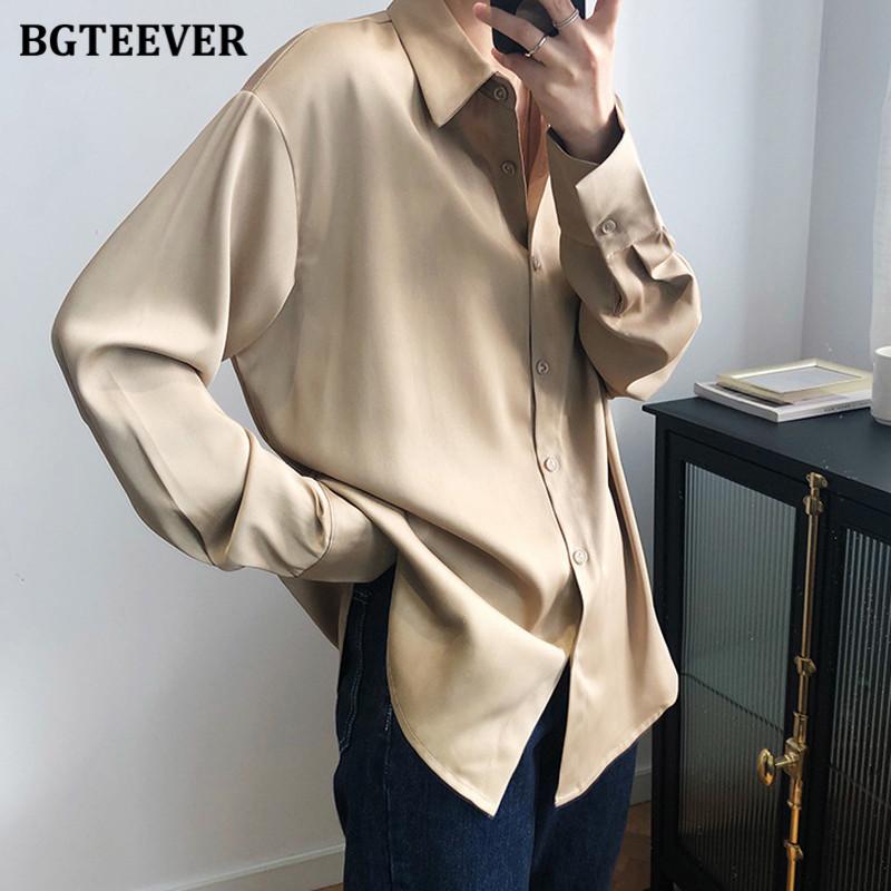 BBTEEVER 2020 New Chic Women Satin Shirts Long Sleeve Solid Turn Down Collar Elegant Office Ladies Workwear Blouses Female