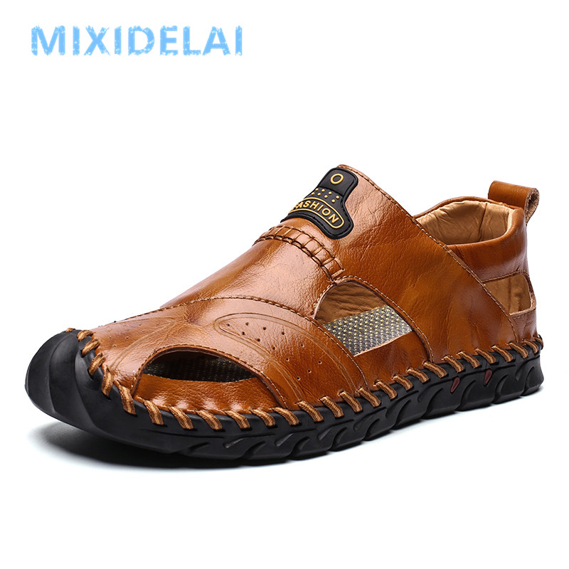 2020 New Summer Sandals Men Breathable High Quality Genuine Leather Sandals Man Flats Plus Size Fashion Casual Beach Men's Shoes