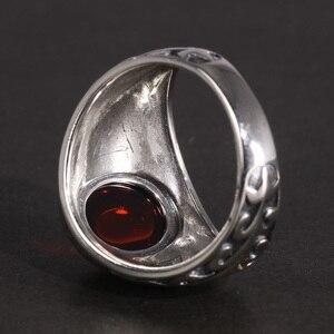 Image 3 - Echt 925 Sterling Zilveren Sieraden Vintage Ringen Voor Mannen Gegraveerde Bloemen Met Rode Granaat Natuursteen Fijne Sieraden