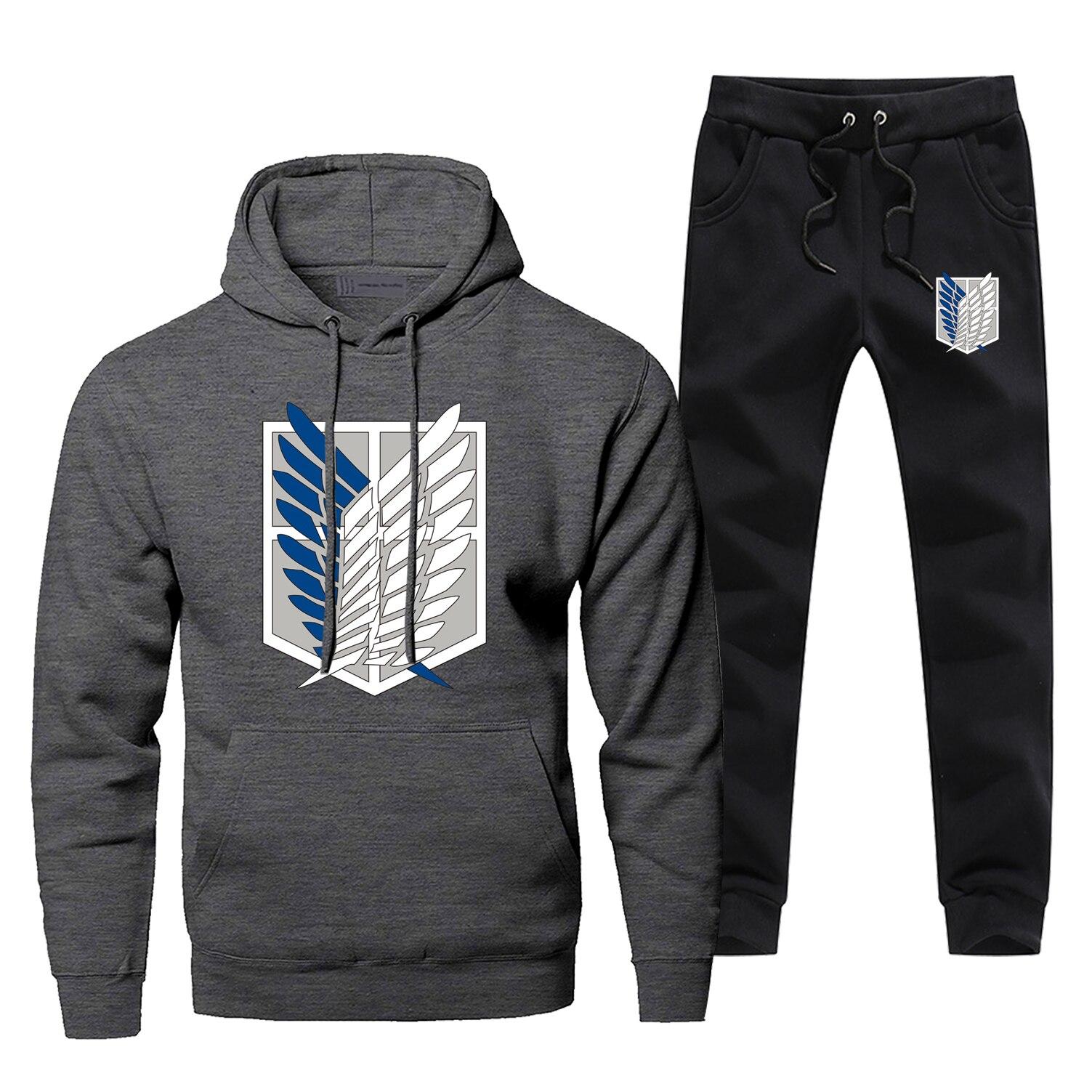 Attack On Titan Japanese Anime Hoodie Pants Sets Men Fashion Sweatshirt Winter Fleece Sportswear Sweatpants Harajuku Streetwear
