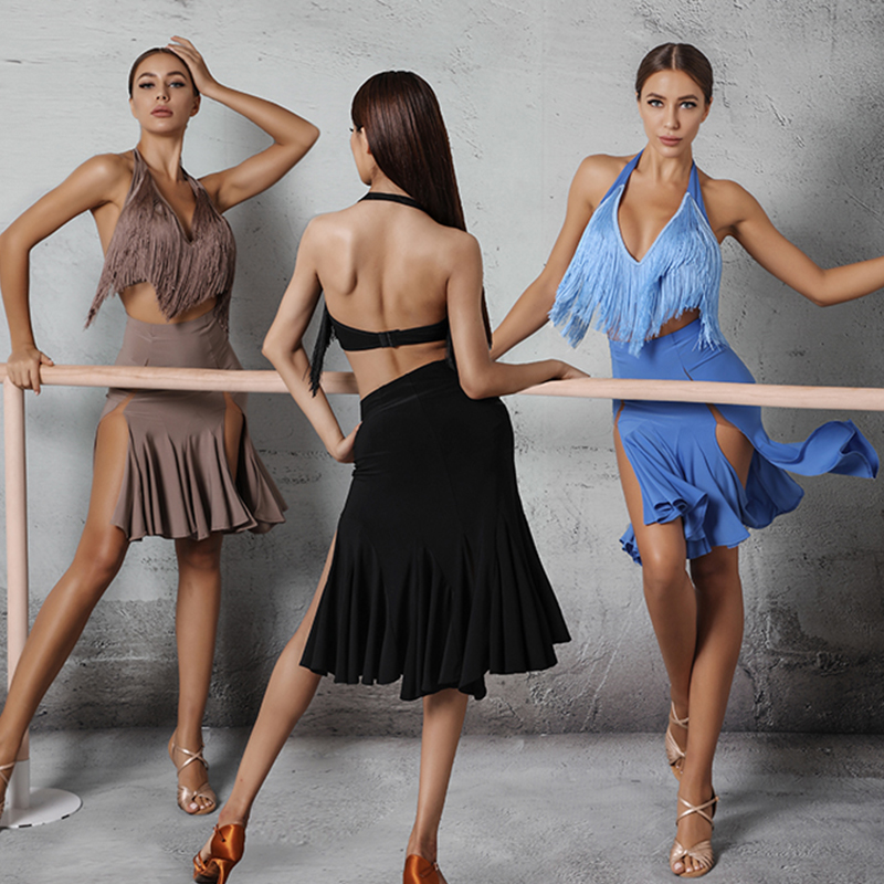 Latin Dance Dress Lady Sexy V-Neck Tassel Top Split Skirt Performance Costumes Tango Salsa Cha Cha Samba Rumba Wear DNV12928
