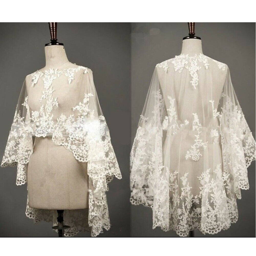Wedding Cape Lace Hem Bridal Jackets Elegant Shawl White Ivory Shrugs For Bride Appliques Bride Wrap