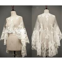 Wedding Cape Lace Hem Bridal Jackets Elegant Shawl White Ivory Shrugs For Bride Appliques Bride Wrap