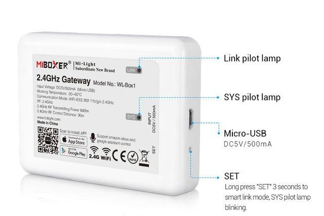 WL Box1 無線lan ibox ledコントローラ 2.4ghzのためのゲートウェイワイヤレスwifi rgbコントローラ音声電話のappコントロールミライトledライト
