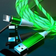 3a luz de fluxo led cabo magnético micro usb tipo c cabo de dados de carregamento rápido cabo para iphone samsung USB-C cabo de cabos de telefone